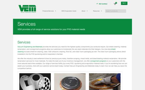 Screenshot of Services Page vem-co.com - Services | Vacuum Engineering and Materials Co - captured Oct. 24, 2017
