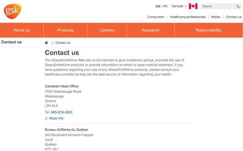 Screenshot of Contact Page gsk.com - Contact us | GSK Canada - captured Sept. 7, 2016