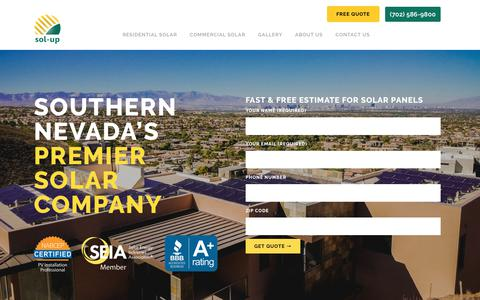 Screenshot of Home Page solup.com - Solar Panels Las Vegas   Premier Solar Company in Las Vegas - Sol-Up USA - captured Oct. 20, 2018