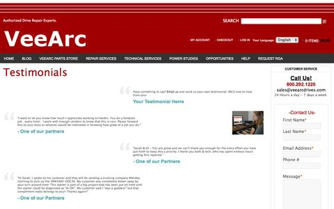 Screenshot of Testimonials Page veearcdrives.com - VeeArc Drives VeeArc Drives Siemens Drive Repair and Replacement Part Sales - captured Nov. 4, 2014