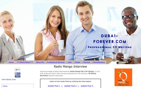 Screenshot of Press Page dubai-forever.com - Radio Mango Interview - captured Feb. 9, 2016