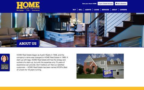 Screenshot of About Page homerealestate.com - About   Lincoln, NE Real Estate Company   Home Real Estate - captured July 21, 2018