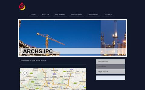 Screenshot of Maps & Directions Page archs-ipc.com - ARCHS IPC LTD - captured Oct. 4, 2014