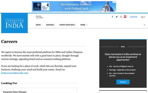 Screenshot of Jobs Page connectedtoindia.com - Jobs at Connected to India - captured July 7, 2018