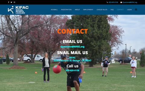 Screenshot of Contact Page kifac.org - Contact - captured Sept. 20, 2018