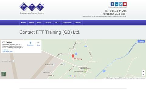 Screenshot of Contact Page fttonline.com - Contact FTT Training (GB) Ltd. - FTT Training (GB) Ltd. - captured Feb. 9, 2016