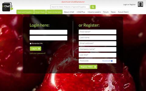 Screenshot of Login Page i-chef.biz - Login or register • i-Chef - captured Nov. 26, 2016
