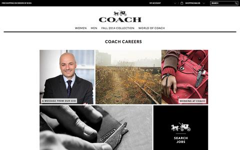 Screenshot of Jobs Page coach.com - Coach Careers - captured Sept. 18, 2014