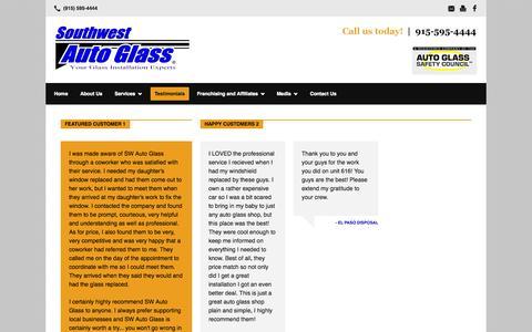 Screenshot of Testimonials Page southwestautoglass.com - Testimonials | Southwest Auto Glass - captured Sept. 30, 2014