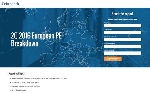 Screenshot of Landing Page pitchbook.com - PitchBook 2Q 2016 European PE Breakdown - captured Aug. 18, 2016