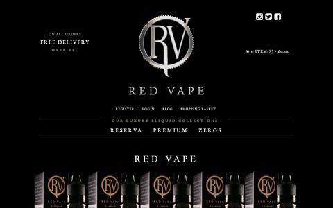 Screenshot of Home Page redvape.com - Gourmet E-Liquid, Tobacco E-Liquid, Premium UK Eliquid| Red Vape - captured July 6, 2017