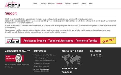 Screenshot of Support Page aldena.it - Aldena Telecomunicazioni Srl - Support - captured Oct. 2, 2018