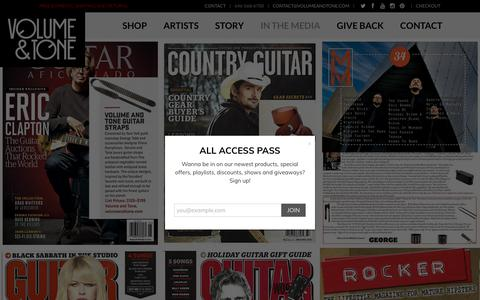 Screenshot of Press Page volumeandtone.com - In the Media | Volume & Tone - Guitar Straps & Leather Goods - captured Oct. 22, 2017