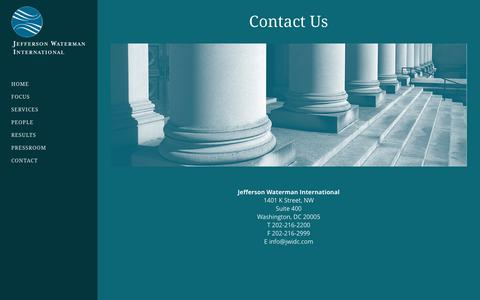 Screenshot of Contact Page jwidc.com - Contact Us - JWI - captured Jan. 31, 2016