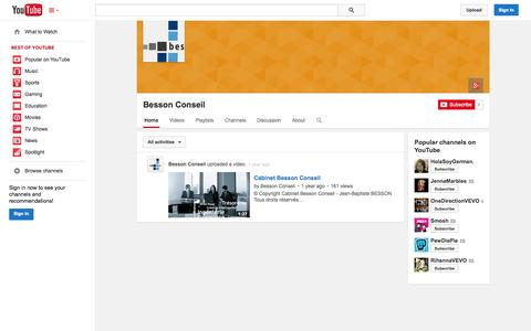Screenshot of YouTube Page youtube.com - Besson Conseil  - YouTube - captured Oct. 22, 2014