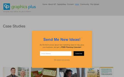 Screenshot of Case Studies Page gpdelivers.com - Graphics Plus Marketing Support Services including Creative, Print, Multimedia and DistributionPrint and Marketing Support Case Studies - captured Sept. 30, 2018
