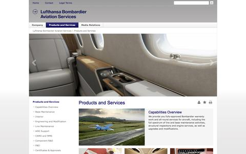 Screenshot of Services Page lbas.de - Products and Services - Lufthansa Bombardier Aviation Services - captured Sept. 20, 2017