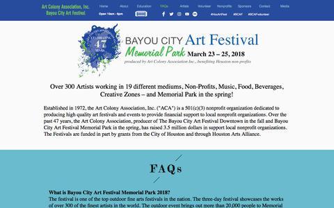 Screenshot of FAQ Page artcolonyassociation.org - Tickets - captured Feb. 12, 2018