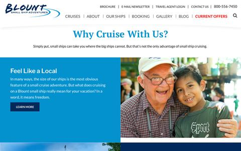 Screenshot of About Page blountsmallshipadventures.com - Benefits of Small Ship Cruise | Blount Small Ship Adventures - captured Aug. 2, 2018
