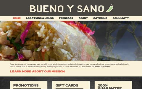 Screenshot of Home Page buenoysano.com - Best Mexican Restaurant | Eat Bueno. Live Bueno. - captured July 30, 2016