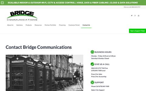 Screenshot of Contact Page bridge-comm.net - Contact Bridge Communications | Support, Service, Maintenance or Sales - captured Oct. 6, 2018