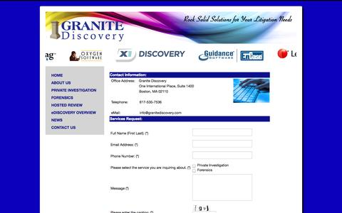 Screenshot of Contact Page granitediscovery.com - CONTACT US - captured Sept. 30, 2014