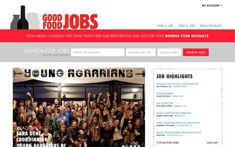 Screenshot of Home Page goodfoodjobs.com - Good food jobs. ::  Welcome - captured Dec. 10, 2015