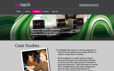 Screenshot of Case Studies Page mtechonline.co.uk - Schools | M:Tech : Music Technology For Schools - captured Oct. 1, 2018