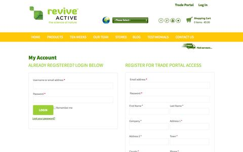 Screenshot of Login Page reviveactive.com - My Account | Revive Active - captured Sept. 22, 2014