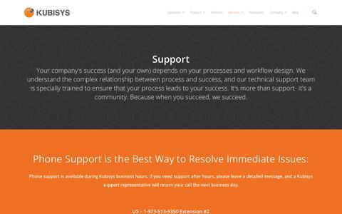 Screenshot of Support Page kubisys.com - Support - Kubisys - captured Nov. 3, 2014