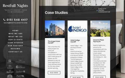 Screenshot of Case Studies Page restfullnights.com - Case Studies - Restfull Nights | Hotel Contract Beds | Contract Beds - captured Nov. 10, 2017