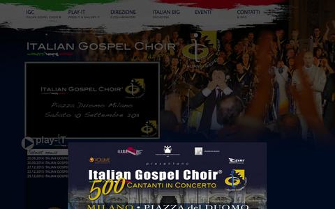 Screenshot of Home Page italiangospelchoir.it - ITALIAN GOSPEL CHOIR ® — IGC - captured Sept. 26, 2014