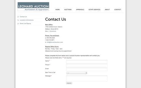 Screenshot of Contact Page leonardauction.com - Contact Leonard Auction - captured Oct. 1, 2014