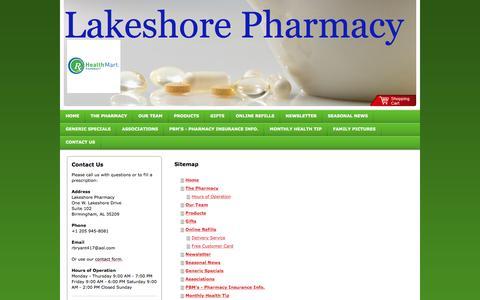 Screenshot of Site Map Page lakeshorepharmacy.com - Lakeshore Pharmacy - Home - captured Dec. 6, 2015