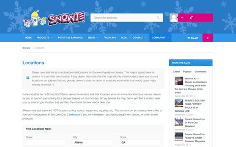 Screenshot of Locations Page snowie.com - Shaved Ice Locations - Snowie Shaved Ice - Snowie.com - captured Sept. 22, 2014