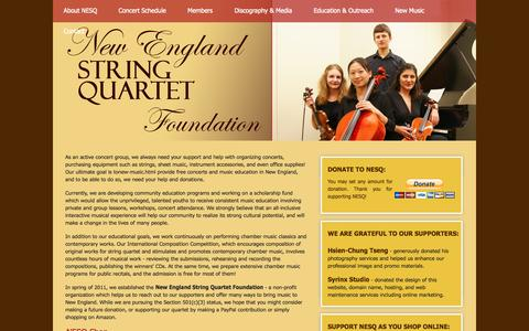 Screenshot of Support Page nestringquartet.com - New England String Quartet Foundation | Support Classical Music and Education | Boston, MA - captured Nov. 5, 2014