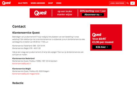 Screenshot of Contact Page quest.nl - Contact - Quest Test Nederland - captured May 2, 2017
