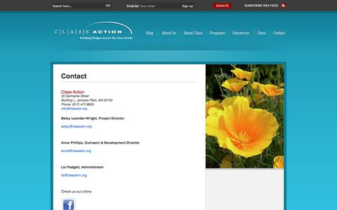 Screenshot of Contact Page classism.org - Contact - captured Oct. 2, 2014