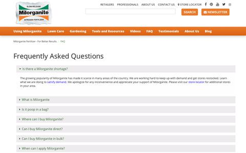 Screenshot of FAQ Page milorganite.com - Frequently Asked Questions | Milorganite - captured Oct. 20, 2018