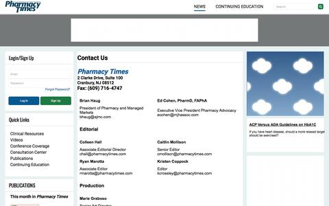 Screenshot of Contact Page pharmacytimes.com - Contact Us | Pharmacy Times - captured May 21, 2018