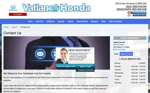 Screenshot of Contact Page vatland.com - Contact Us | Vatland Honda Dealership - captured Feb. 26, 2016