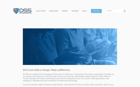 Screenshot of Jobs Page dssinc.com - LIFE AT DSS — DSS, Inc. - captured Feb. 15, 2019