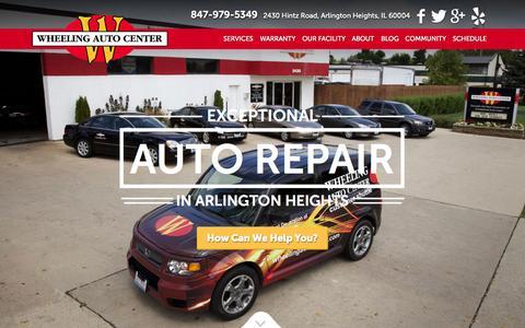 Screenshot of Home Page wheelingautocenter.com - Wheeling Auto Center | Your Quality Auto Repair Shop - captured Aug. 17, 2015