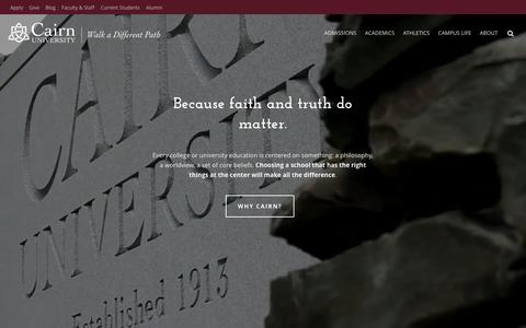 Screenshot of Home Page cairn.edu - Cairn University | A Christian university near Philadelphia, PA - captured Jan. 24, 2016