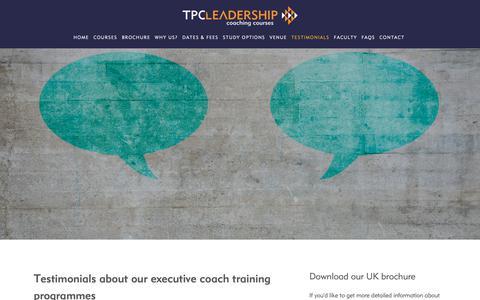 Screenshot of Testimonials Page executive-coaching-courses.co.uk - Testimonials — Executive coaching courses - captured Oct. 23, 2018