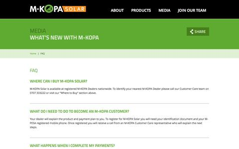 Screenshot of FAQ Page m-kopa.com - M-KOPA Solar - captured Sept. 16, 2014
