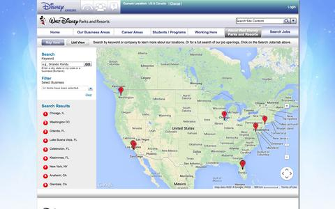 Screenshot of Locations Page disneycareers.com - Locations | Jobs and Careers | Parks & Resorts - captured Sept. 18, 2014