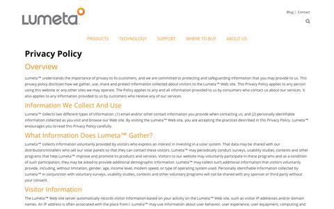Screenshot of Privacy Page lumetasolar.com - Privacy Policy | Lumeta Solar - captured July 24, 2018