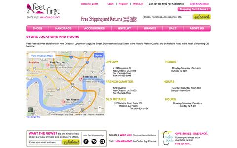 Screenshot of Locations Page feetfirststores.com - Feet First Shoe Store Locations in New Orleans   Shoes, Handbags, Accessories and more - captured Oct. 5, 2014