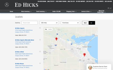 Screenshot of Locations Page edhicks.com - Ed Hicks | New Nissan, INFINITI, Mercedes-Benz dealership in Corpus Christi, TX 78380 - captured Sept. 27, 2018